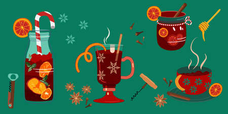 Mulled red wine in different special glasses,jar with stripped tube,bow.Corkscrews for opening bottles.Anise,cinnamon stick and orange slices for better aroma.Hot drink for Christmas, New year party s Imagens - 154989091