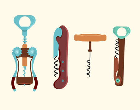 Corkscrews vector collection.Winery opener equipment isolated.Bottle-screw and vintage tailspin illustration for uncapping alcohol drink,champagne. Grape harvest,wine production concept in flat style