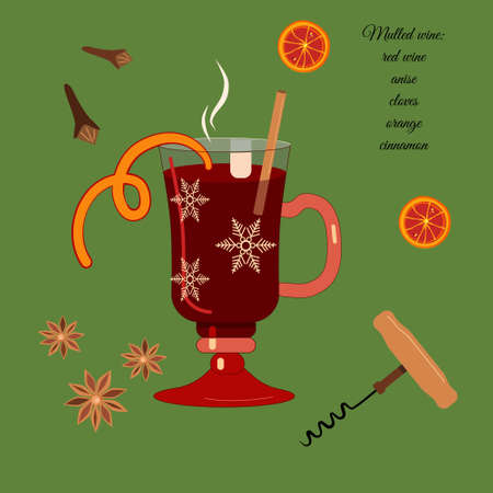 Mulled wine recipe in special glass. Corkscrew with wooden handle for opening bottles. Anise, cinnamon stick and orange slices for better taste and aroma.Hot drink for Christmas and New year party. Imagens - 154989095