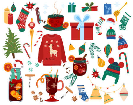 Christmas set with traditional symbols of winter holidays.Happy New Year 2021 concept.Hot mulled wine in glass,knit hat and sweater,toys for tree,elf stocking,candy cane,bell.Poster for sale,gift card 矢量图像
