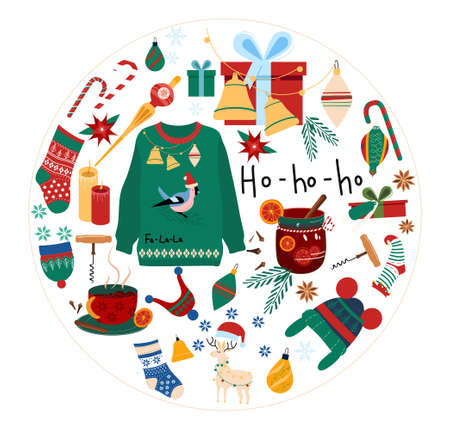 Christmas set in round with traditional symbols of winter holidays.Happy New Year 2021 concept.Hot mulled wine in glass,knit hat and sweater,toys for tree,elf stocking,candy cane,bell.Poster for sale,