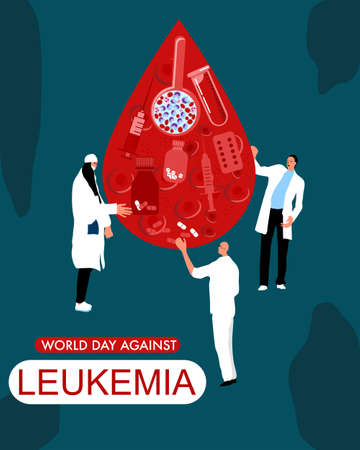 World Leukemia Day concept. Drop of blood with Erythrocytes,leukocytes, pills,tablets,medical tools. Tiny doctors make laboratory tests and cure.