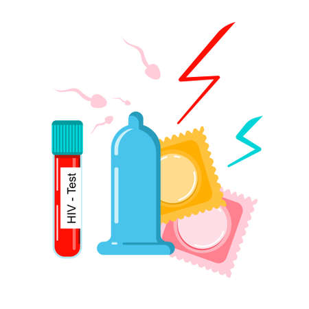 Condoms are attacked by sperms,flashes lighting around.HIV test proof.Prevention AIDS,many venereal diseases and birth controlling.Safe sex concept.Online medical consultation World contraception day