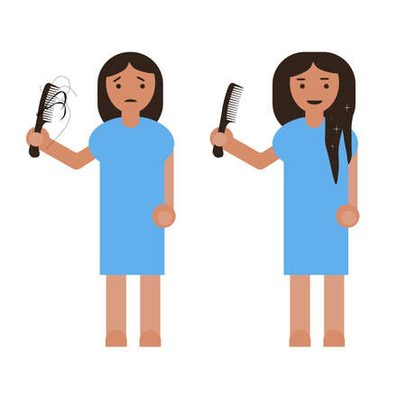 Flat simple sad girl holding a comb in hand with hair loss.Early baldness. Girl with hair problem, damage, alopecia, and beauty woman with thick hair cartoon style.Vector illustration for beauty salon