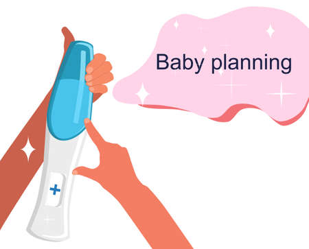 Human hands holding pregnancy test which shows positive result.Baby planning and female health illustration.Reproduction and motherhood concept for obstetrics,gynecology.High fertility.Vector isolated