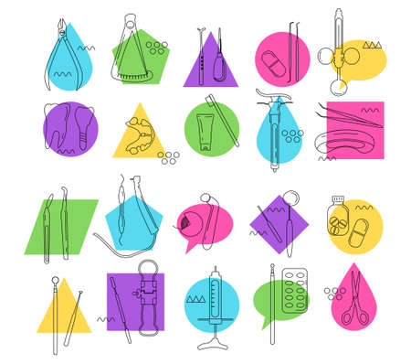 Dental tools and instruments line art icon set.Orthodontic prosthetics and filling,drill bit,treatment of diseases of oral cavity and caries.Memphis style colourful vector for clinic.Medical equipment