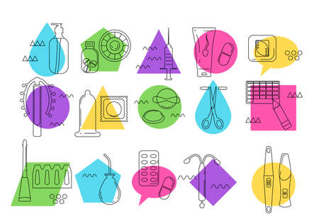 Contraception different methods icon set in Memphis style.Pregnancy and birth control instruments line art vector.Geometric colourful collection for baby planning,safe sex.Venereal disease prevention 矢量图像
