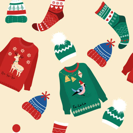 Seamless pattern with warm winter clothes from wool.Knitted sweaters for merry Christmas celebration.New year print for seasonal sale,gift card or promo flyer.Socks and hats scandinavian style 矢量图像