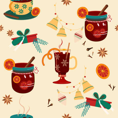 Seamless pattern with mulled wine in mug,special glass,jar with stripped tube,bow.Punch,Hot drink for Christmas.Print for New year party.Anise,cinnamon stick,orange slices for better aroma.Xmas gifts