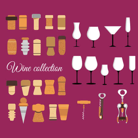 Cork stoppers collection. Different types and forms bungs and plugs for alcohol bottles.Tailspin for opening and various wine glasses. Champagne production and packaging technologies.vector flat style
