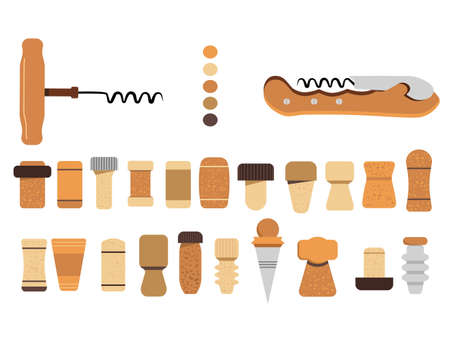 Cork stoppers collection. Different types and forms bungs and plugs for alcohol bottles. Tailspin for opening wine.Champagne production and packaging technologies.Isolated vector on white background 矢量图像