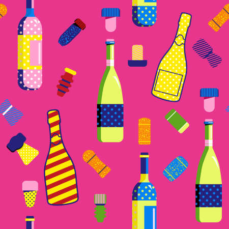 Seamless pattern in Pop Art style with champagne and wine bottles and Cork stoppers. Different types and forms bungs and plugs for alcohol drinks.Print for birthday invitation,holiday celebration,menu 矢量图像