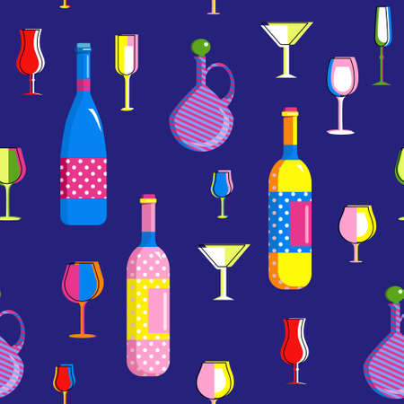 Seamless pattern in Pop Art style with champagne bottles and different types wine glasses.Collection for Home Party.Bar utensils in trendy colors.Tumbler for cocktail, ethnic jug.Print for bar flyer