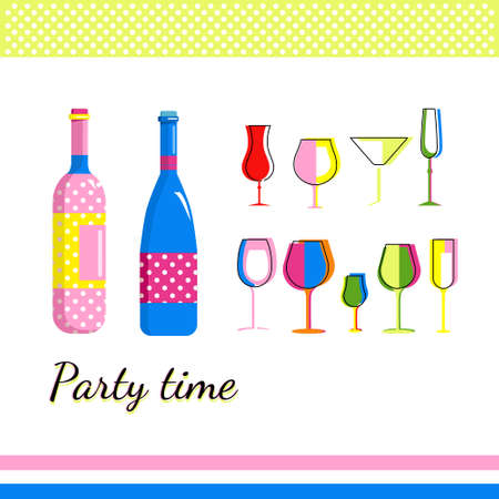 Champagne bottles and different types,form wine glasses in Pop Art style.Collection for Home Party. Bar utensils in trendy colors.Tumbler for cocktails.Birthday invitation,holiday celebration.Vector