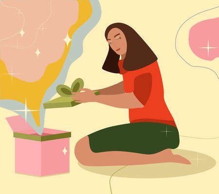 Young woman opening present.Girl sitting on the floor,unpacking decorated Christmas or Birthday gift box.Secret Santa and new year banner,landing page.Congratulations,surprise and love in the distance