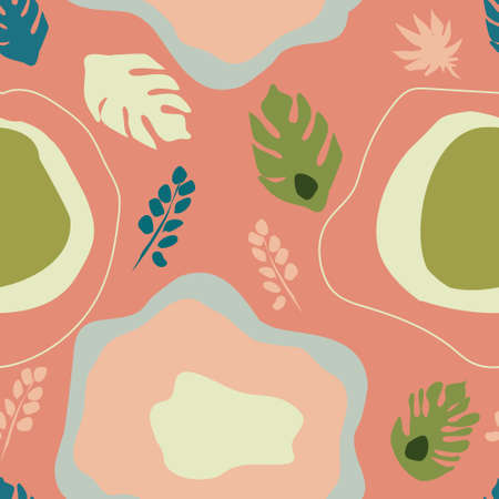 Seamless pattern with monstera and tropical jungle leaves.Hand drawn vector trendy abstract background. Spots in pastel colors, minimalistic naive concept. Print for textile,notebook cover