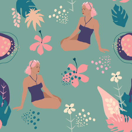 Young woman sitting on the beach in swimsuit around tropical jungle leaves,lotus,water lily flowers,dreaming,sunbathing.Seamless pattern with abstract background.Pastel colors in minimalist style 矢量图像
