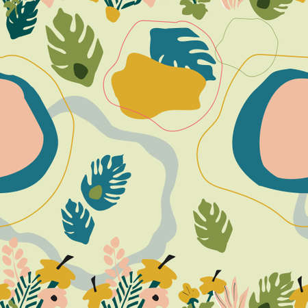 Seamless pattern with frangipani flowers,monstera and tropical jungle leaves.Hand drawn vector trendy abstract background.Spots and plumeria in pastel colors. Print for textile,notebook cover.