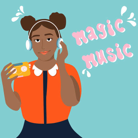 Young afro american woman is listening to music in headphones and enjoy sound.Girl is holding retro audio player with tape inside.Meloman,fan,music lover.Poster for jazz club,store,acoustic bar,fest Stock Illustratie