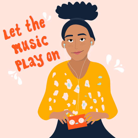 Young woman is listening to music in earphones and enjoy sound.Fan,meloman.Girl is holding retro audio player with tape inside.Poster for jazz club,store,acoustic bar.Let the music play on lettering