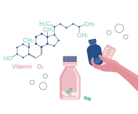 World Osteoporosis Day.Vitamin D3 chemical formula. Human hand holds tablets and pills. Movement disability and arthritis, disease of  joints. Calcium deficiency.Bones disease prevention and treatment