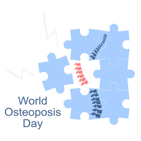 World Osteoporosis Day. Human spine with disease and pain.Fragile and broken bones.Skeleton falls apart by puzzles. Movement disability and arthritis,disease of joint.Vitamin D deficiency