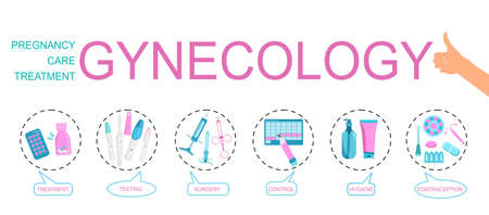 Gynecology word vector infographic illustration with icons for obstetrics,female treatment,baby planning,tools,pregnancy tests,contraception,hygiene.Bubble messages for every part of medical business
