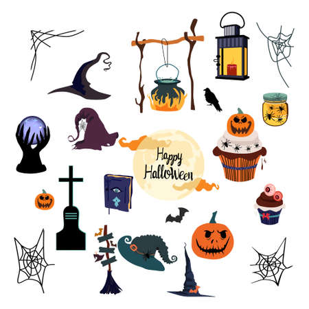 Halloween vector set with tradition symbols.Day of the dead.Night party invitation or greeting card.Spider webs,magic ball,pumpkin,witches hat and cauldron.Full moon and scary night.All Saints Eve