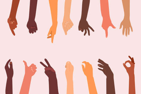 Human hands different ethnicities and various gestures set.One, two or three fingers,OK,fist or palm.Template for your text in the middle.Sign language.Vector in flat style.Multiethnic thumbs
