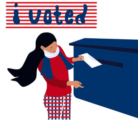 Vote day in USA or other country.Young girl puts envelope in the postbox and polling.Vector illustration with ballots. President, government choosing by people, democracy. Delivery of letters,telegram