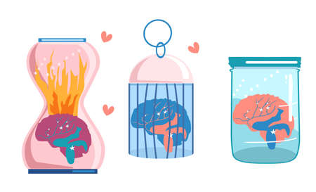 Trendy concept of mental health,hysteria,personal problems.A brain in fire is placed in a bird cage,in an hourglass,in a glass jar.Psychological consultation,support.Professional burnout.Take care