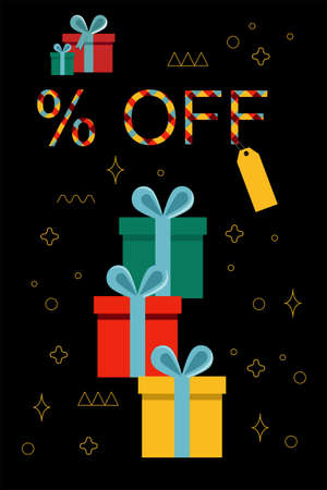 Black Friday Super Sale.Colourful gift boxes with blue bows.Dark background with golden ornament.Text lettering with Scottish bright check. Vertical banner,vector poster, header website.Coupon design