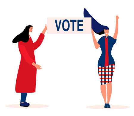 Elections day in USA or other country.Two young women are voting and polling.Patriotism, civic duty. Vector illustration with ballots.President is choosing by people,democracy.Flat style concept