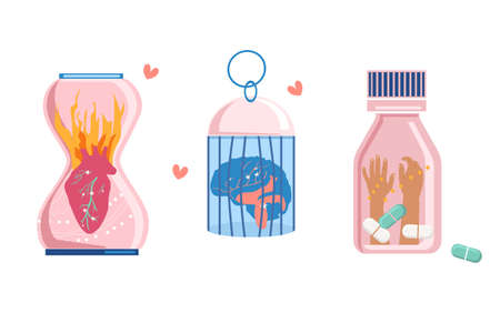 Trendy concept of unrequited love and mental anguish,experiences. A burning heart in an hourglass,a brain is placed in a bird cage,hands are stretched from a can of pills. Psychological help,support.