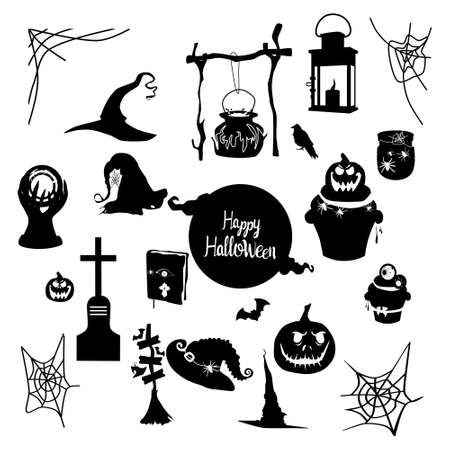 Halloween lettering vector set with tradition symbols.Day of the dead.Night party invitation or greeting card in black color.Spider webs,magic ball,pumpkin,witches hat and cauldron.All Saints Eve 矢量图像