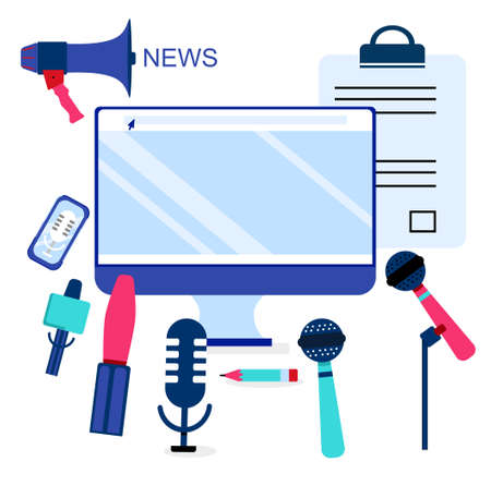 Press release infographic elements.Microphones and recorders for taking interview.Breaking news on computer display and public relations.Digital marketing for business.Online communication.Vector.