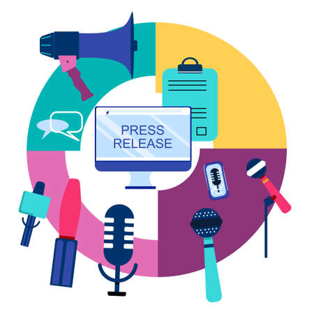 Press release infographic elements.Microphones and recorders for taking interview.Breaking news and public relations.Digital marketing for business. Journalism and Broadcasting.Online communication
