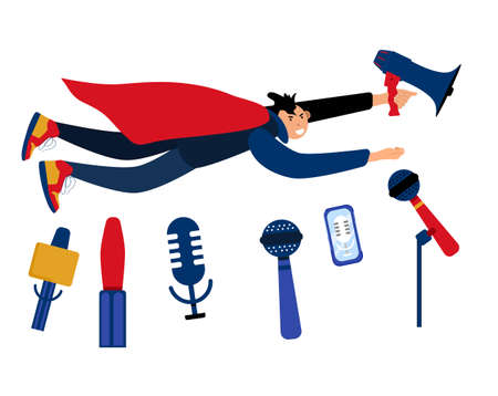 Reporter or journalist flying with megaphone like superhero.microphones and recorders for taking interview. Press release concept.Breaking news and public relations. Digital marketing for business.
