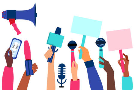 Hands with microphones and recorders are taking interview. Press release concept.Breaking news and public relations. Digital marketing for business. Journalism and Broadcasting.Online communication.