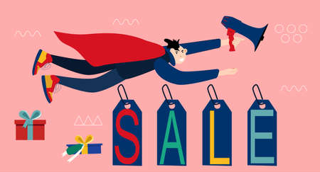 Man is flying with megaphone like superhero and making announcement of super sale.Lettering word on price tags and colourful gift boxes around.Black Friday or Christmas special offer.Horizontal banner
