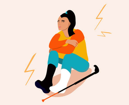 Temporarily disabled sad girl with broken leg with bandage is sitting.Crutches are around. Unhappy injured young woman. Ankle bone fracture or sprain with gypsum.Vector illustration in trendy colors 矢量图像