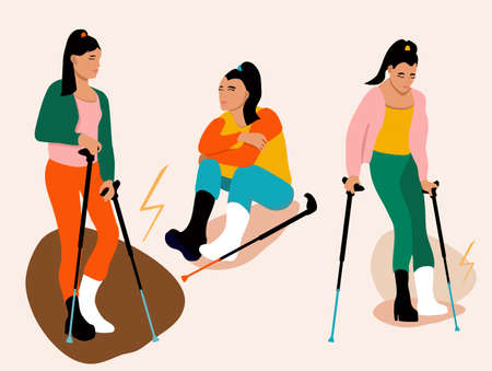 Set of three young women with broken leg.Girl with orthopedic cast walking using crutches.Ankle bone fracture or sprain with gypsum.Unhappy injured lady with bandage is sitting.Trendy vector poster