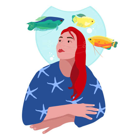 Young woman is dreaming or thinking.Girl with aquarium oh her head.Immersion in yourself, escape from reality. Honey, spotted and moon gourami in water.Trichogaster labyrinth fish around mermaid