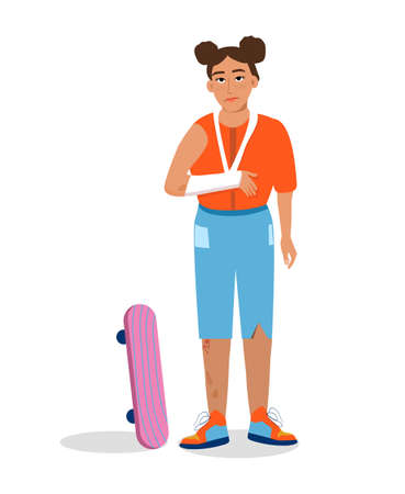 Hand,wrist bone fractures with gypsum or orthopedic cast. Temporarily disabled sad teenager with broken arm with bandage. Unhappy injured girl.Child has fallen from skateboard.Trendy vector for clinic
