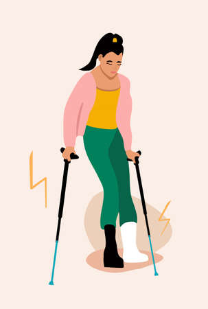 Young woman with broken leg.Girl with orthopedic cast walking using crutches.Ankle bone fracture or sprain with gypsum.Unhappy injured lady with bandage is sitting.Trendy vector poster
