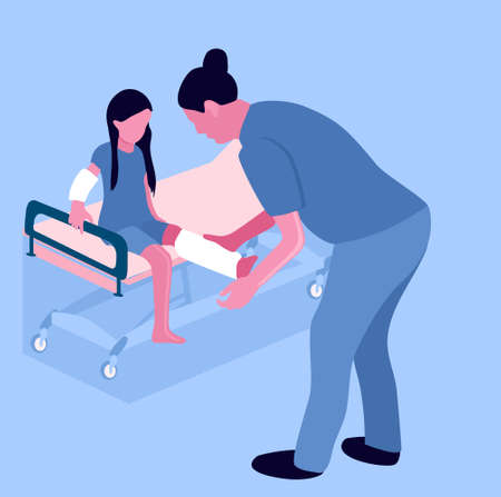 First aid.Arm and leg bone fractures with gypsum or orthopedic cast. Temporarily disabled sad child with broken limbs with bandage. Nurse is working.Unhappy injured girl is sitting on medical couch.