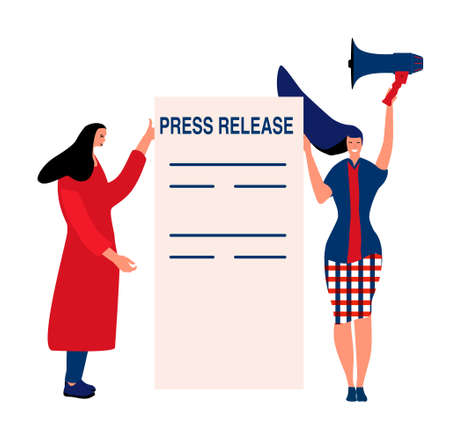 Press release concept.Reporter or journalist make announcement with megaphone.Two young women are taking interview,writing article. Breaking news and public relations. Digital marketing for business. 向量圖像