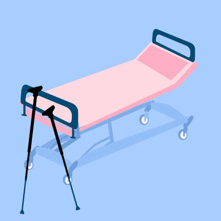 Hospital bed or medical couch vector illustration.Crutches are in emergency room.Injury, bone fractures,lameness and orthopedic problems concept. Equipment in clinic for rehabilitation and recovery Ilustração