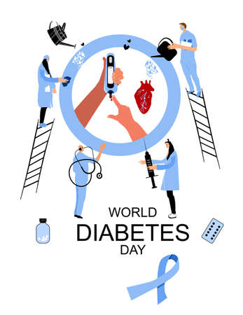 People in medical clothes protecting human blood,heart.Disruption of the endocrine pancreas.World diabetes day.Hands are making Sugar or glucose Test.Electrochemical,Photometric glucometers.Awareness.