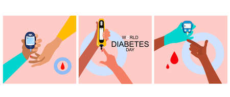 World diabetes day illustrations set.Hands different ethnicities and Blood Sugar Test.Determination of glycated hemoglobin.Electrochemical,Photometric glucometers.Disruption of the endocrine pancreas